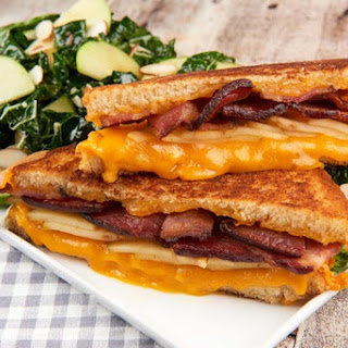 "Apple, Bacon, and Cheddar ""ABC"" Grilled Cheese With Kale Salad with Maple Vinaigrette"