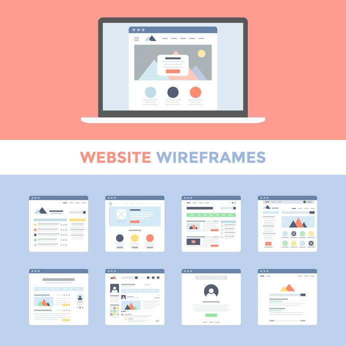 Well-planned and excellent website design influences potential customers to make a purchase. Modern website wireframes illustrated by filborg.