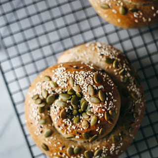 Ricotta Stuffed Whole Wheat Za'atar Challah Mini Loaves With Pumpkin Seeds And Sesame Seeds