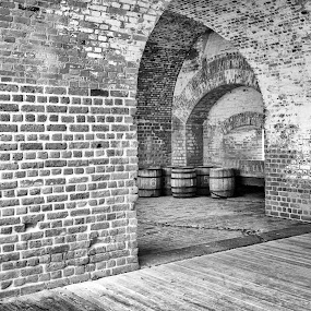 Arches by Jason Lemley - Buildings & Architecture Public & Historical ( fort pulaski, barrels, texture, infrared, black & white, arches, bricks, fort,  )
