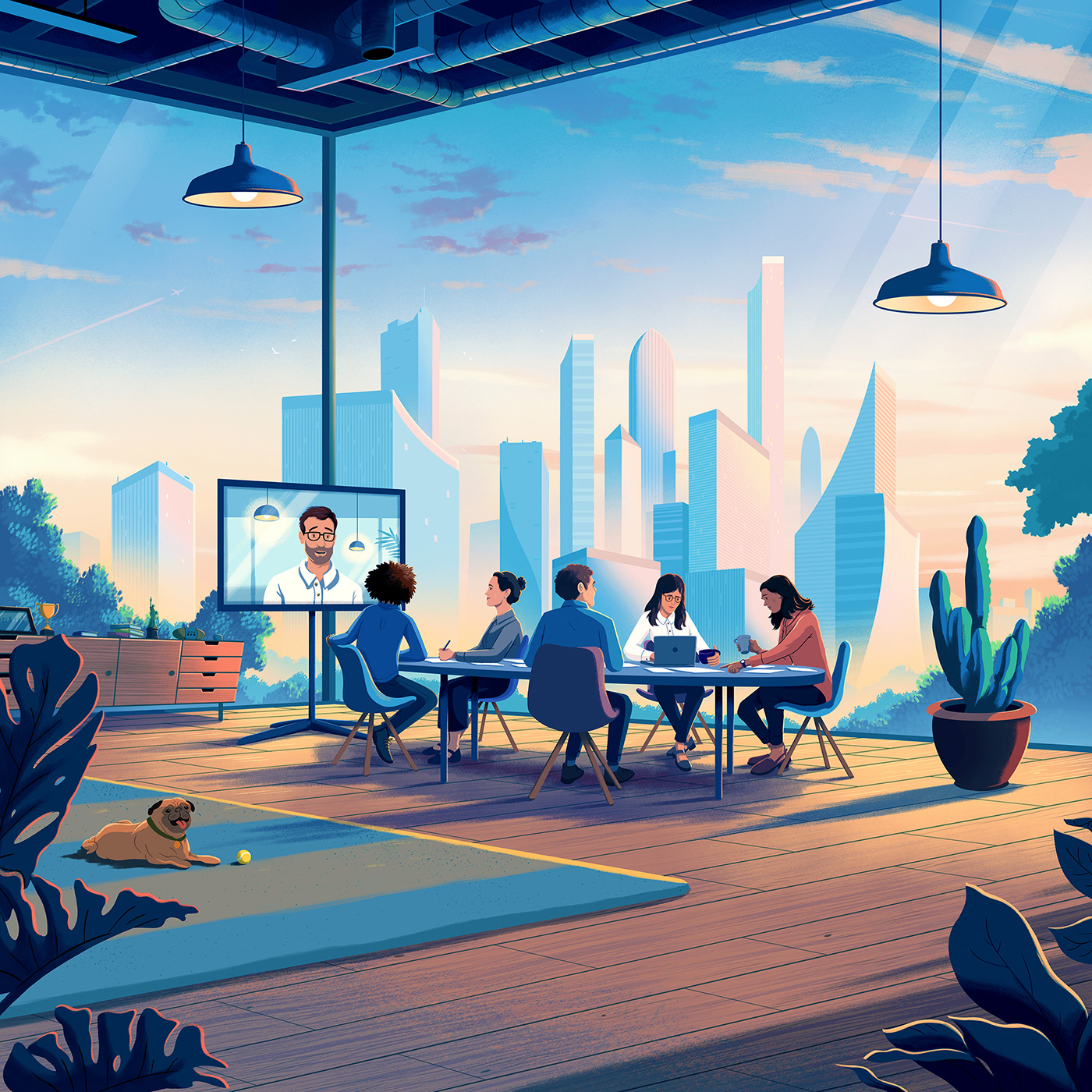 architecture banking clouds contemporary hot desking interior design  modern building Office Office Design SKY
