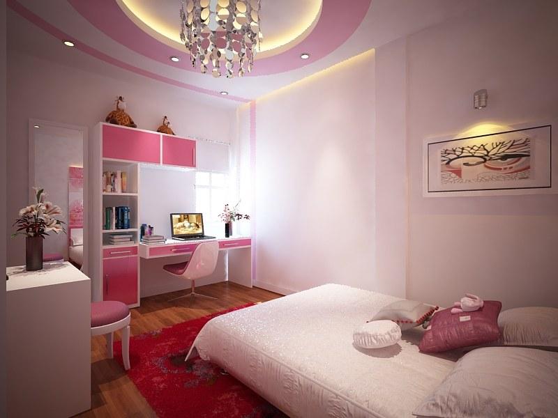 Thiết kế phòng ngủ con gái nhà ống 3 tầng 4x12m