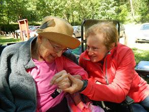 Photo: Lynne and Mari singing at Hagg Lake picnic