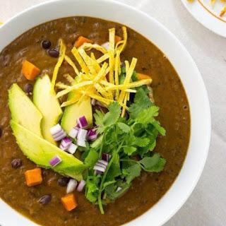 Vegan Smokey Black Bean and Sweet Potato Soup