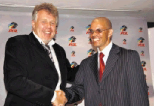 PARTNERS: PSL chief executive Kjetl Siem with new general manager Andile 'Ace' Ncobo. 20/07/08. © Sowetan.