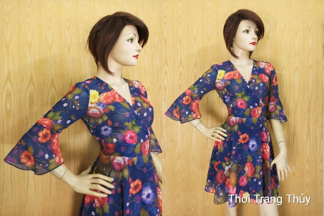 Váy xòe họa tiết hoa vạt chéo tay loe V610 Thời Trang Thủy