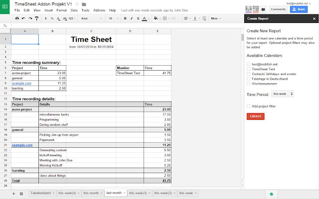 timesheet google sheets add on. Black Bedroom Furniture Sets. Home Design Ideas