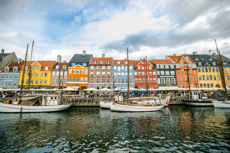 Colorful buildings line the canal in the Nyhavn section of Copenhagen.