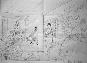 Photo: Desenho do ensaio de BACKTCHUBÁ feito pelo amigo IOLIVAN em 15/11/2010 enquanto ensaiávamos.