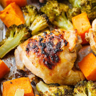 One Sheet Chicken Thighs with Sweet Potato and Broccoli.