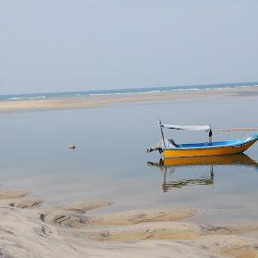 Off Duty by Azzah Rahman - Artistic Objects Still Life ( lagoon, terengganu, pwcstilllife, boat, fisherman )