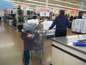 Photo: Monkey decided that he should be able to push the cart and that he's big enough to do it.  He isn't, but he still felt good about trying.