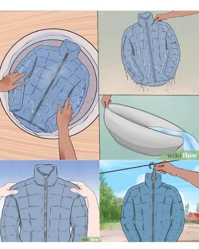 Hand wash down jacket maintenance