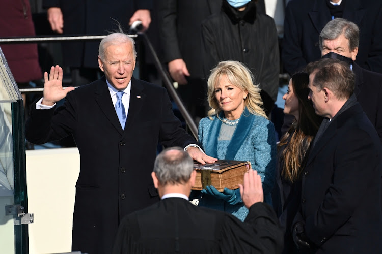 US President-elect Joe Biden is sworn in as the 46th US President, at the US Capitol in Washington on January 20 2021.