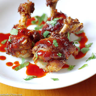 Chicken Lollipops with Honey-Chili Sauce.