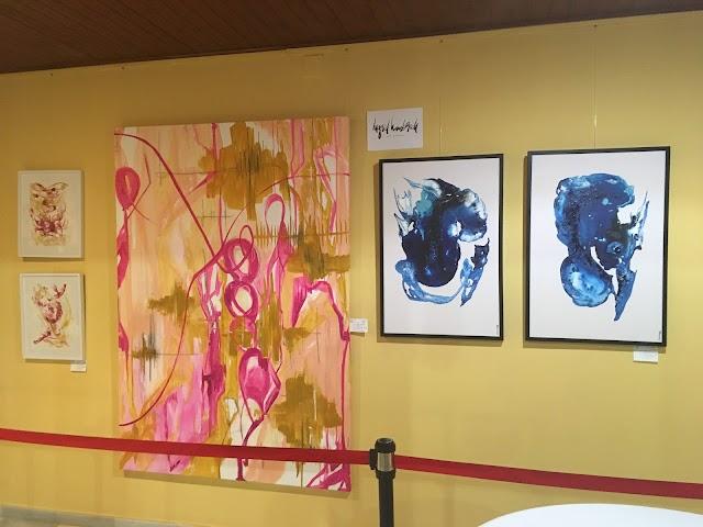 Algunas de las obras de Ingrid Haubrich expuestas en el evento.