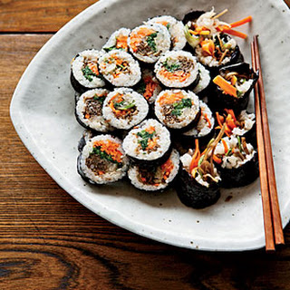 Korean Sushi Rolls with Walnut-Edamame Crumble.