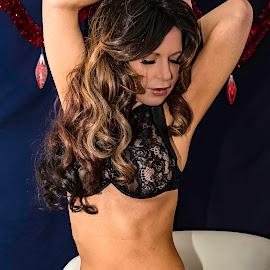 Charlie Kristine  by Robert Smith - Nudes & Boudoir Boudoir ( boudoir, blue background, sexy, black, christmas )