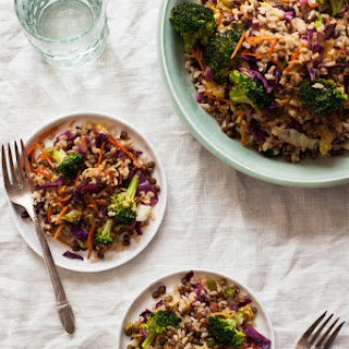 Quick & Easy Brown Rice Lentil Stir Fry with Peanut Butter Sauce.