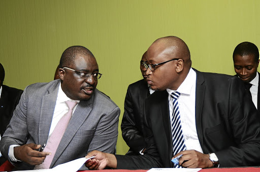 VBS Mutual Bank chairperson Tshifhiwa Matodzi and CEO Andile Ramavhunga. Matodzi has been fingered to be at the centre of the grand scale looting at the bank.