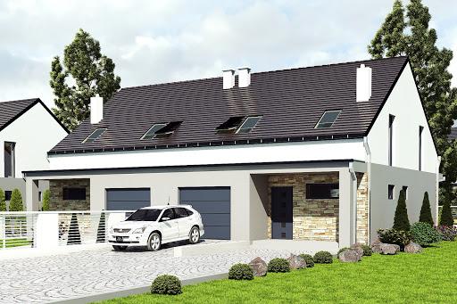 projekt Mazurek z garażem 1-st. bliźniak A-BL1
