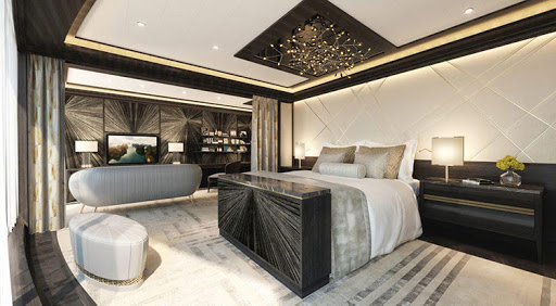 The opulent Regent Suite on Seven Seas Splendor features the world's most expensive bed.