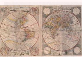 地球図、司馬江漢 寛政四年刊 銅版 一舗