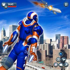 Flying Robot Superhero Crime City Rescue Battle