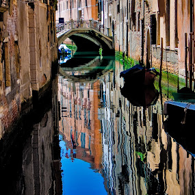 Venice reflections by Peter Greenhalgh - Landscapes Travel ( old buildings, blue sky, italia, boats, venice, reflections, bridge, landscape, italy, canal )