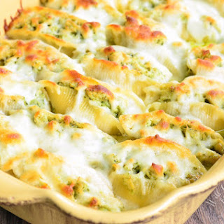 Cheesy Pesto Chicken Stuffed Shells