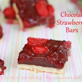 Chocolate Fudge Roasted Strawberry Cookie Bars.
