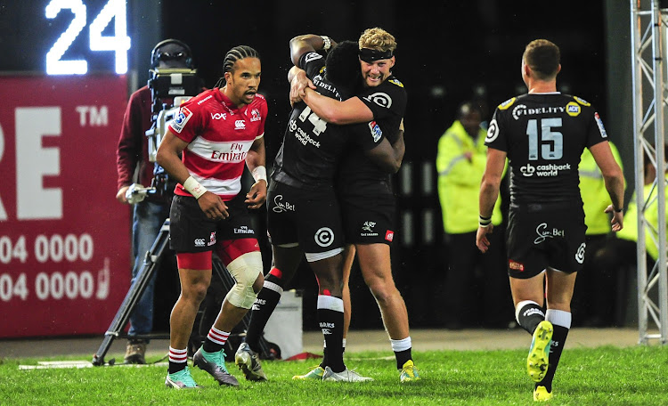 Robert Du Preez of the Cell C Sharks celebrates the try of Lwazi Mvovo of the Cell C Sharks during 2018 Super Rugby game between the Sharks and the Lions at Kings Park, Durban on 30 June 2018.
