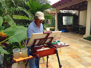 Photo: Manny at work /Painting plein air at the Society of the Four Arts 12-12-13