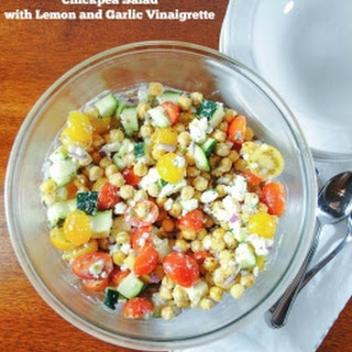 Lemony Chickpea Salad with Zucchini, Tomatoes and Feta Cheese.
