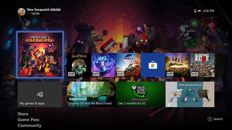 Giao diện trang chủ của Xbox One