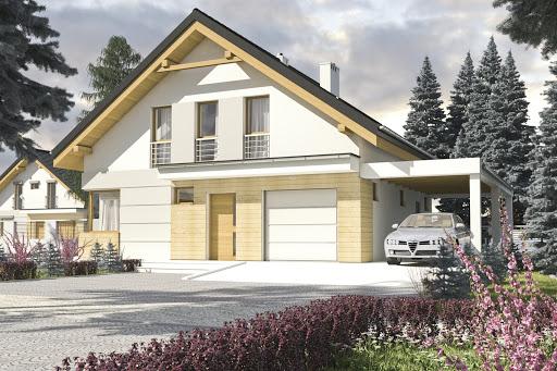 projekt Nowinka II z garażem i wiatą A1 na paliwo stałe