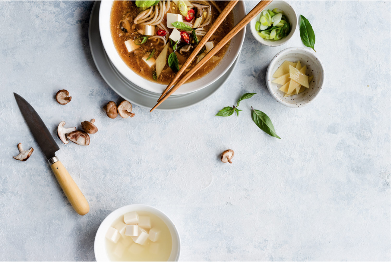 A food photograph of an asian noodle bowl by Rachel from two loves studio