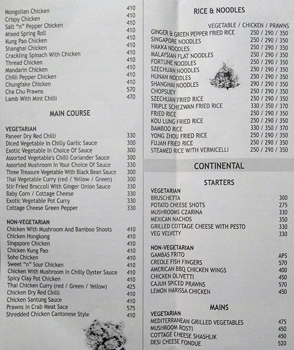Menu 1 - Shabri Restaurant And Bar, Vile Parle East, Mumbai
