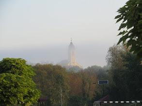 Photo: Novai templom torony hajnali párában.