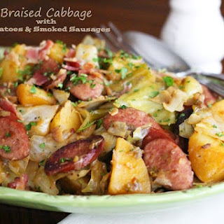 Braised Cabbage With Potatoes And Smoked Sausages.