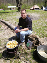 Photo: Mr. Ruck patiently watches over his cauldron of tasty apples -- to become the night's apple cobbler cracker barrel -- 'twas outstanding!