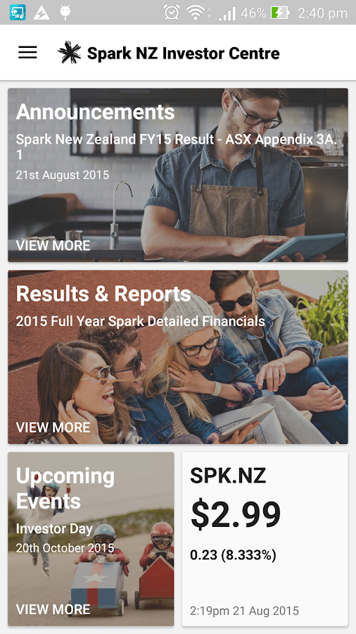 Spark NZ Investor Centre- screenshot