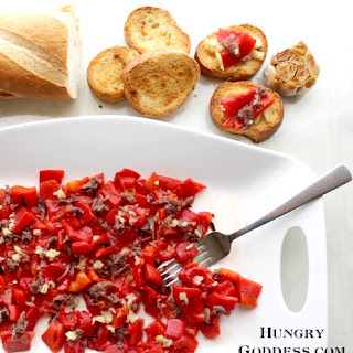 Roasted Red Peppers and Anchovies with Bruschetta #SundaySupper.