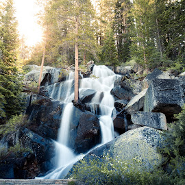 CA Highway 120 by Logic Vang - Landscapes Waterscapes ( water, wild, highway, park, california, national, waterfall, cascades, forest, roadside, rays, pass, roadtrip, adventure, mountains, nature, yosemite, fall, sunrays, sunrise, golden )