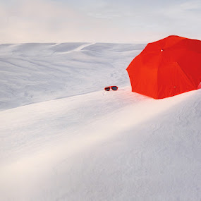 Red Umbrella by Tom Vogt - Artistic Objects Other Objects ( red, winter, snow, umbrella, , World_is_RED, white, pwc87, color, colors, landscape, portrait, object, filter forge, cold )