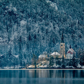 by Mario Horvat - City,  Street & Park  Historic Districts ( water, sneg, touristic, winter, slovenija, church, lake, travel, jezero, island )