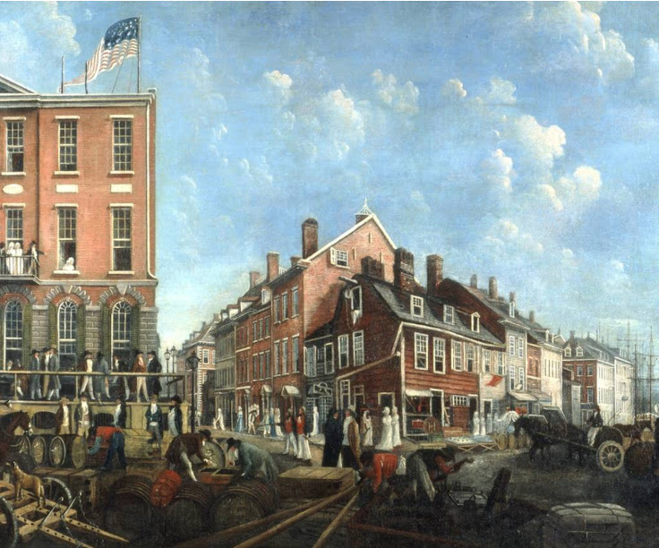 The Tontine Coffee House is the building on the left with the American flag and the porch. This is a 1797 painting by Francis Guy.