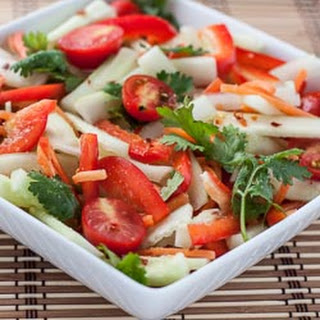 CUCUMBER SALAD WITH TOMATO, BELL PEPPER, AND SPICY THAI LIME VINAIGRETTE