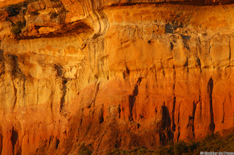 Photo: A sandstone cliff in the  the last rays of the setting sun. Golden Gate Highlands National Park (South Africa).