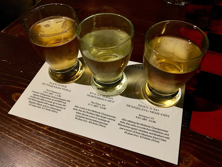A flight of American ciders.